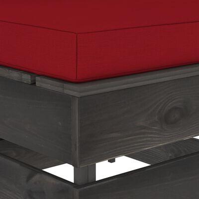 vidaXL Taburet modular cu pernă, gri, lemn tratat