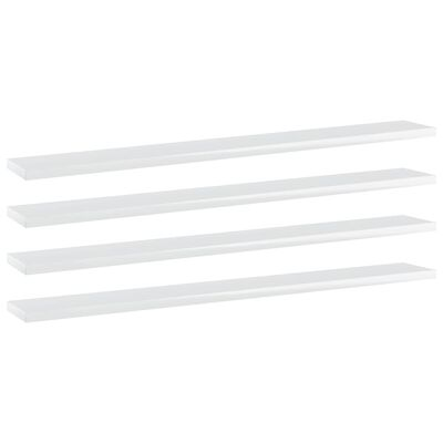 vidaXL Plăci bibliotecă, 4 buc., alb extralucios, 80x10x1,5 cm, PAL