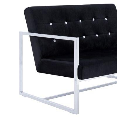 vidaXL Canapea cu 2 locuri cu brațe, negru, crom și catifea