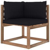 vidaXL Canapea de grădină din paleți colțar, perne negru