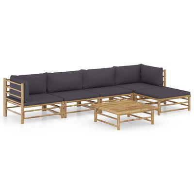 vidaXL Set mobilier de grădină, 6 piese, perne gri închis, bambus