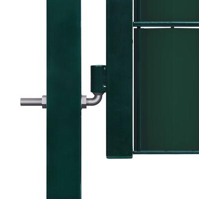 vidaXL Poartă de gard, verde, 100x81 cm, PVC și oțel