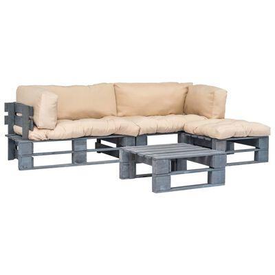vidaXL Set mobilier de grădină paleți cu perne nisipii, 4 piese, lemn