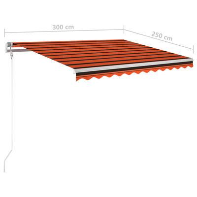 vidaXL Copertină retractabilă manual cu stâlpi portocaliu/maro 3x2,5 m