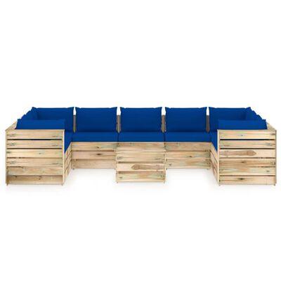 vidaXL Set mobilier de grădină cu perne, 10 piese, lemn verde tratat