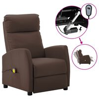 vidaXL Electric Massage Reclining Chair Brown Faux Leather (289725+327164)