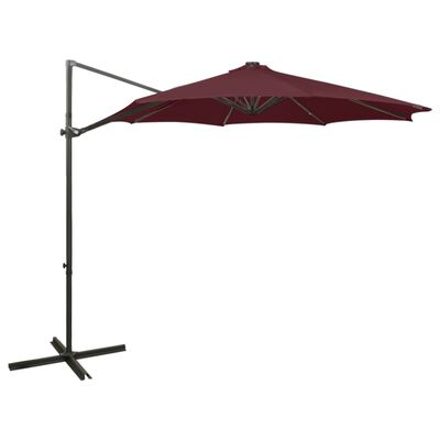 vidaXL Umbrelă suspendată cu stâlp și LED-uri, roșu bordo, 300 cm