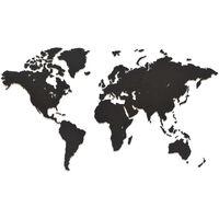 MiMi Innovations Decor perete harta lumii Luxury negru 90x54 cm lemn