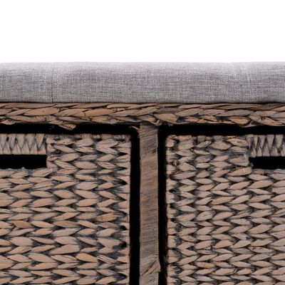 vidaXL Bancă din iarbă de mare, 2 coșuri, 71 x 40 x 42 cm, gri