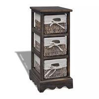 vidaXL Dulap de depozitare din lemn, 3 coșuri împletite, maro