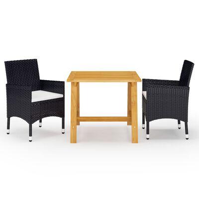 vidaXL Set de masă pentru grădină, 3 piese, negru