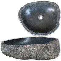 vidaXL Chiuvetă din piatră de râu, 46-52 cm, ovală