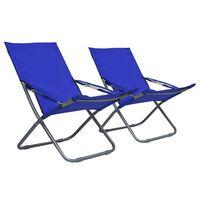 vidaXL Scaune de plajă pliante, 2 buc., albastru, material textil