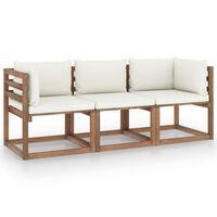 vidaXL Canapea de grădină paleți, 3 locuri, perne alb crem, lemn pin