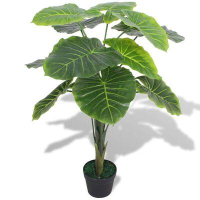 vidaXL Plantă artificială Taro cu ghiveci, 70 cm, verde