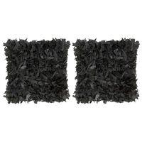vidaXL Pernuțe Shaggy, 2 buc., negru, 45x45 cm, piele și bumbac
