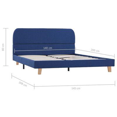 vidaXL Cadru de pat, albastru, 140 x 200 cm, material textil