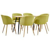 vidaXL Set mobilier de bucătărie, 7 piese, verde, material textil