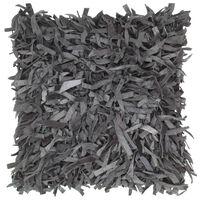 vidaXL Pernuță Shaggy, gri, 60x60 cm, piele și bumbac