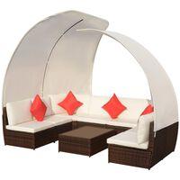 vidaXL Set mobilier de grădină cu baldachin, 9 piese, maro, poliratan