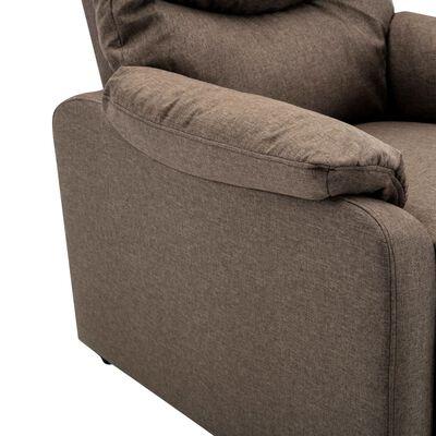 vidaXL Fotoliu TV rabatabil electric, maro, material textil