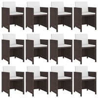 vidaXL Set mobilier de exterior cu perne, 13 piese, maro, poliratan