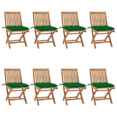 vidaXL Scaune pliabile de grădină cu perne, 8 buc., lemn masiv de tec