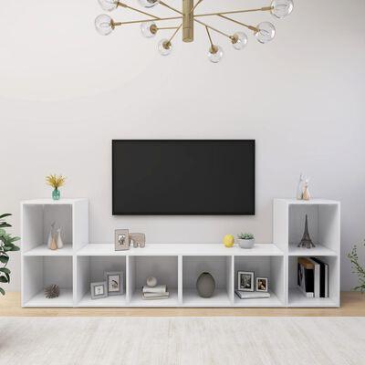 vidaXL Comode TV, 4 buc., alb, 72x35x36,5 cm , PAL