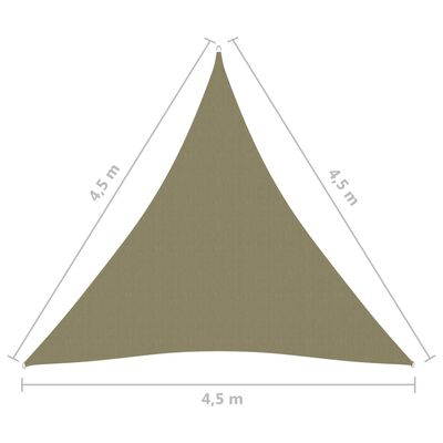 vidaXL Parasolar, bej, 4,5x4,5x4,5 m, țesătură oxford, triunghiular