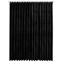 vidaXL Draperie opacă, negru, 290 x 245 cm, catifea, cu cârlige