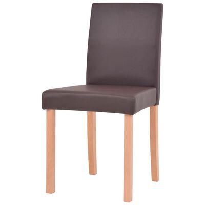 vidaXL Masă și scaune 5 piese, piele artificială, stejar, maro
