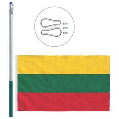 vidaXL Drapel Lituania și stâlp din aluminiu, 6 m