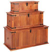 vidaXL Cufere de depozitare, 3 buc., lemn masiv de acacia