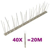 vidaXL Set bandă cu țepi antipăsări cu 5 rânduri, 40 buc., oțel, 20 m