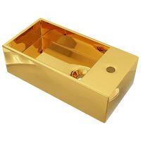 vidaXL Chiuvetă cu preaplin, auriu, 49 x 25 x 15 cm, ceramică