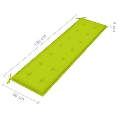 vidaXL Bancă de grădină, pernă verde aprins, 175 cm, lemn masiv de tec