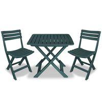 vidaXL Set mobilier bistro pliabil, 3 piese, verde, plastic