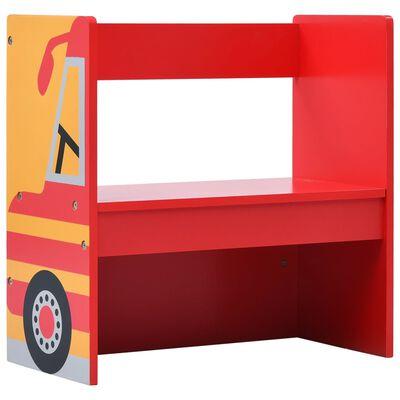 vidaXL Set masă și scaune copii, 3 piese, mașină de pompieri, lemn