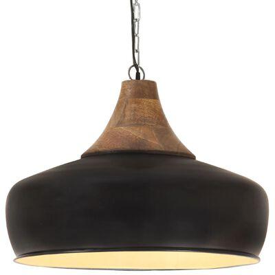 vidaXL Lampă suspendată industrială negru 35 cm lemn masiv&fier E27
