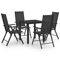 vidaXL Set mobilier de grădină, 5 piese, negru, aluminiu