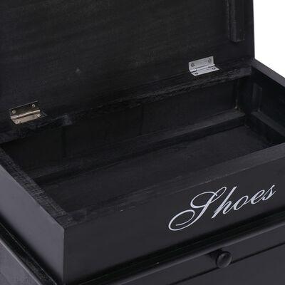 vidaXL Pantofar, negru, 50 x 28 x 58 cm, lemn de paulownia