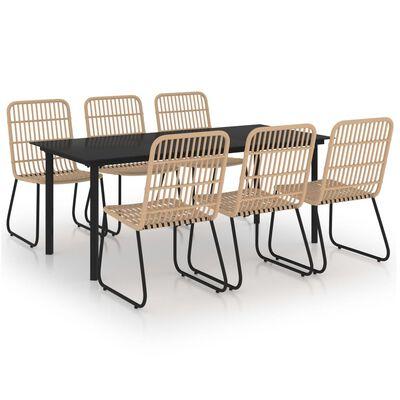 vidaXL Set mobilier de exterior, 7 piese, poliratan și sticlă