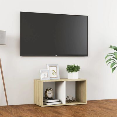 vidaXL Comodă TV, alb și stejar sonoma, 72x35x36,5 cm, PAL