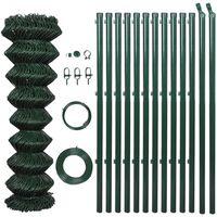 vidaXL Gard de legătură din plasă cu stâlpi, verde, 1 x 15 m, oțel