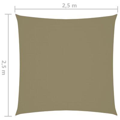 vidaXL Pânză parasolar, bej, 2,5x2,5 m, țesătură oxford, pătrat