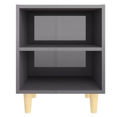 vidaXL Noptieră cu picioare lemn masiv, gri extralucios, 40x30x50 cm