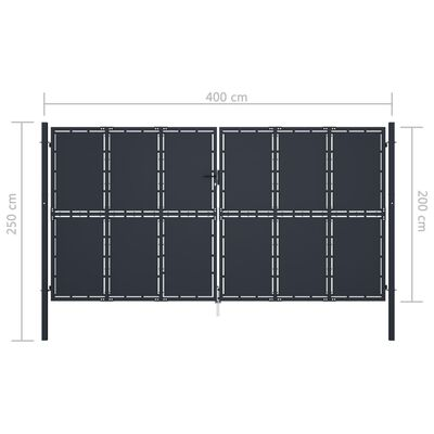 vidaXL Poartă de grădină, antracit, 400 x 200 cm, oțel