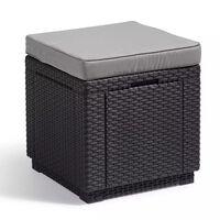 Allibert Taburet tip cub cu spațiu de depozitare, grafit, 213785