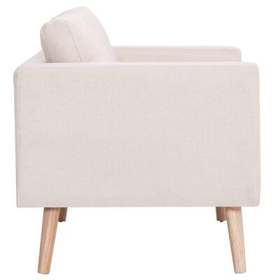 vidaXL Canapea cu 3 locuri, crem, material textil