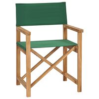vidaXL Scaun de regizor pliabil, verde, lemn masiv de tec